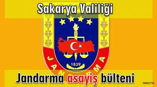 Sakarya il Jandarma Komutanlığı 14-15-16 Eylül 2018 Asayiş Bülteni